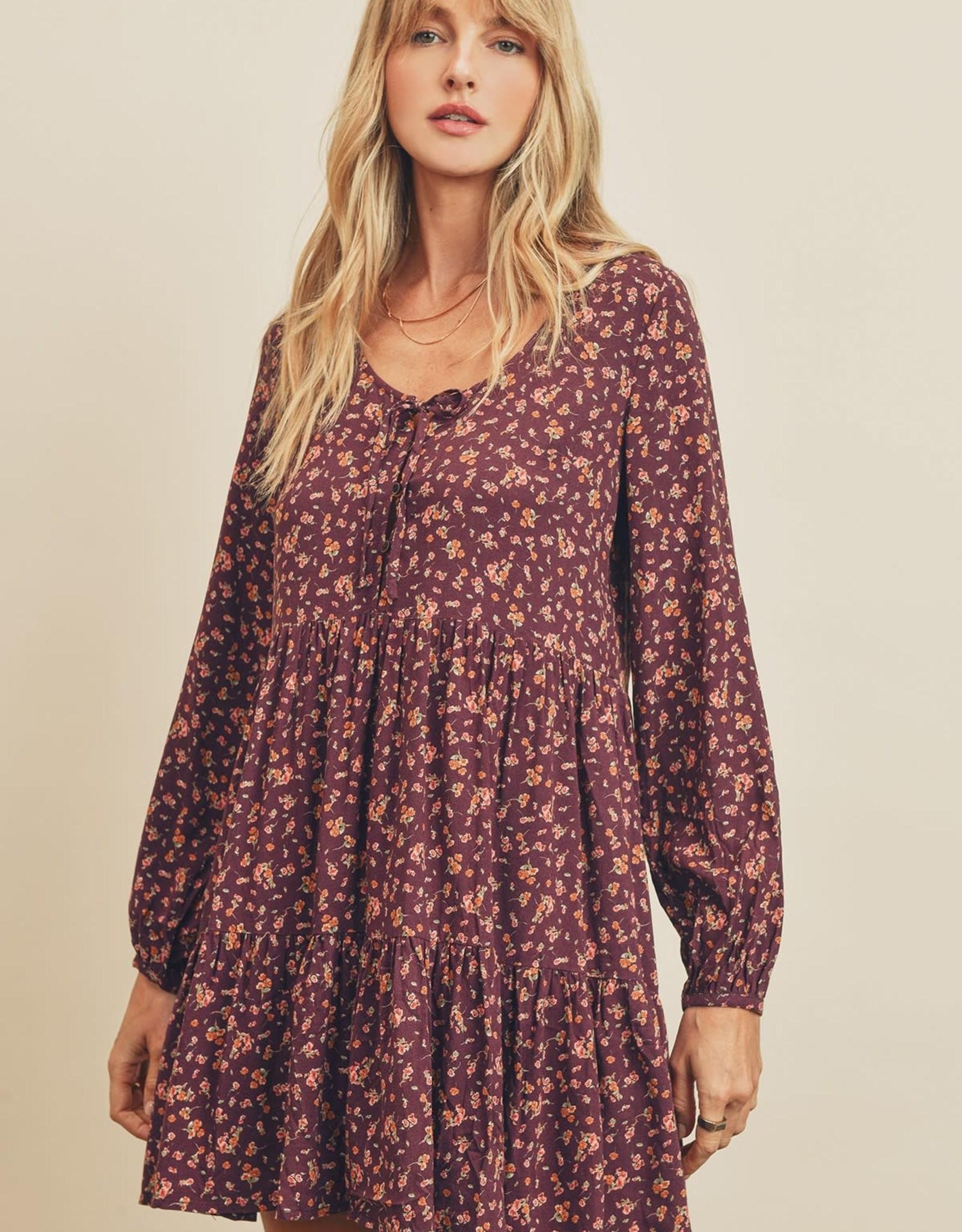 Miss Bliss LS Tiered Swing Dress- Burgundy