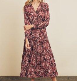 Miss Bliss LS Smocked Waist Tiered Maxi Dress- Mauve