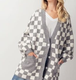 Miss Bliss Buffalo Checkered Long Line Cardigan-