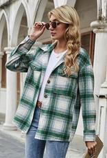 Miss Bliss Plaid Jacket- Green
