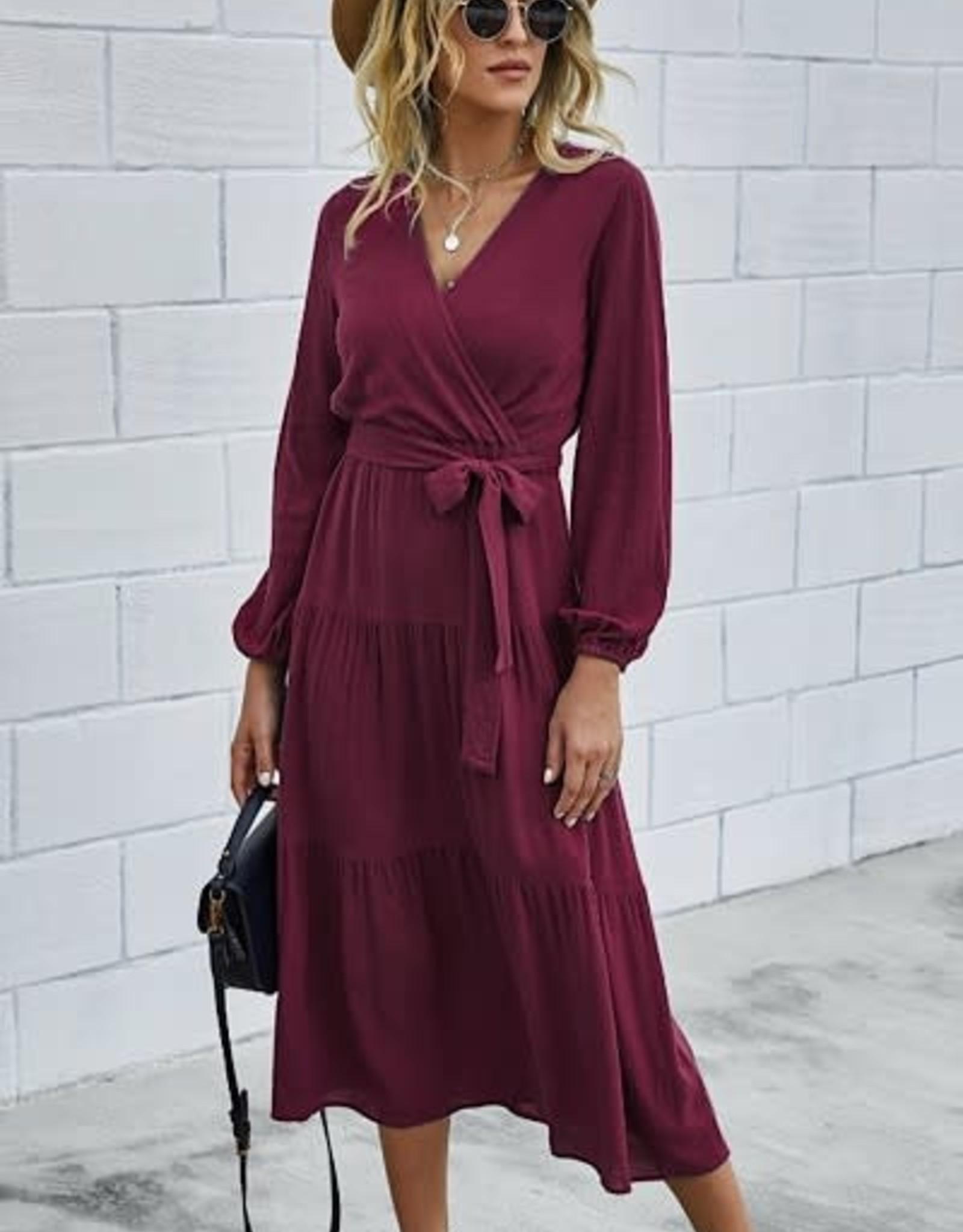 Miss Bliss LS V Neck Dress- Wine
