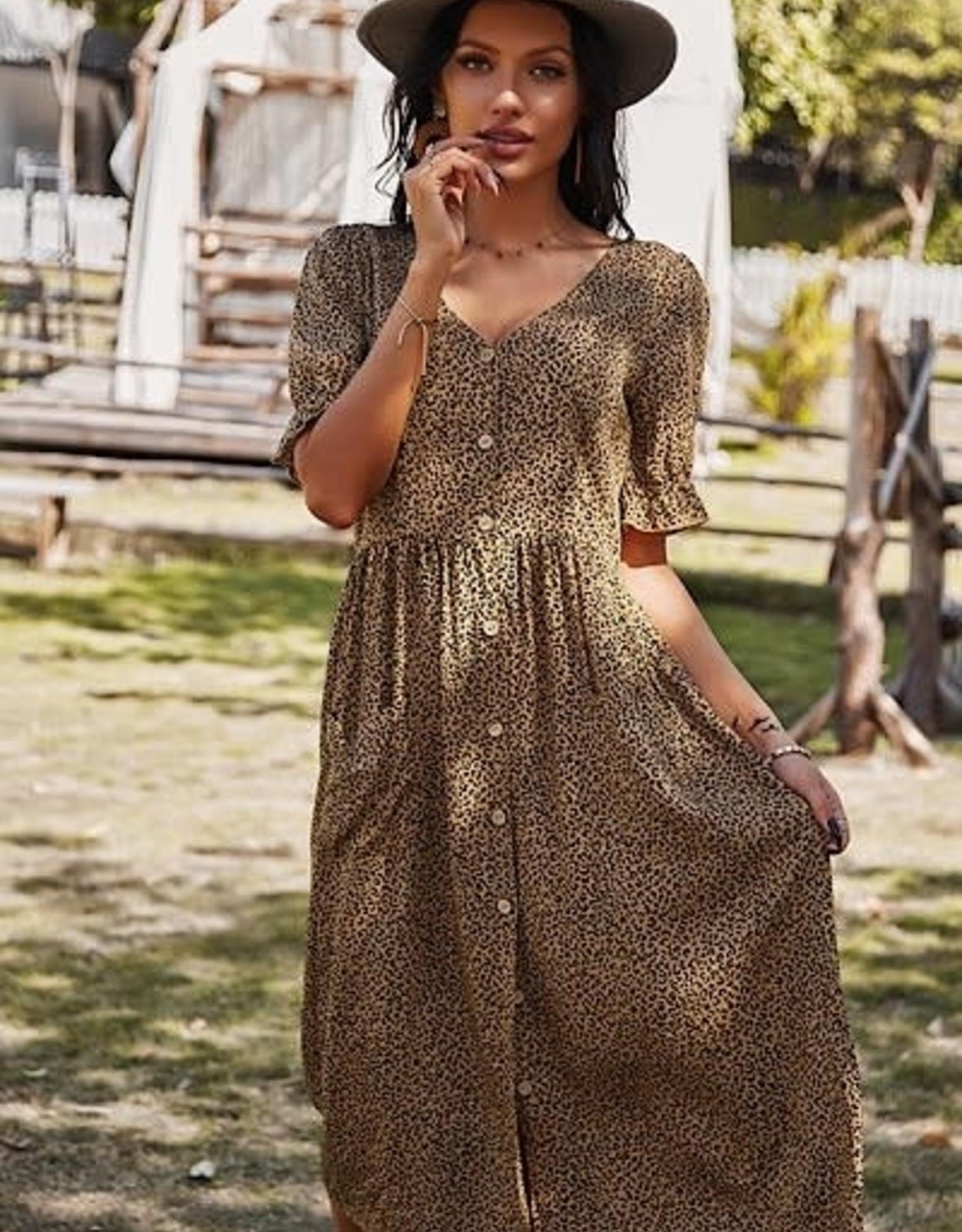 Miss Bliss SS Leopard Dress- Brown