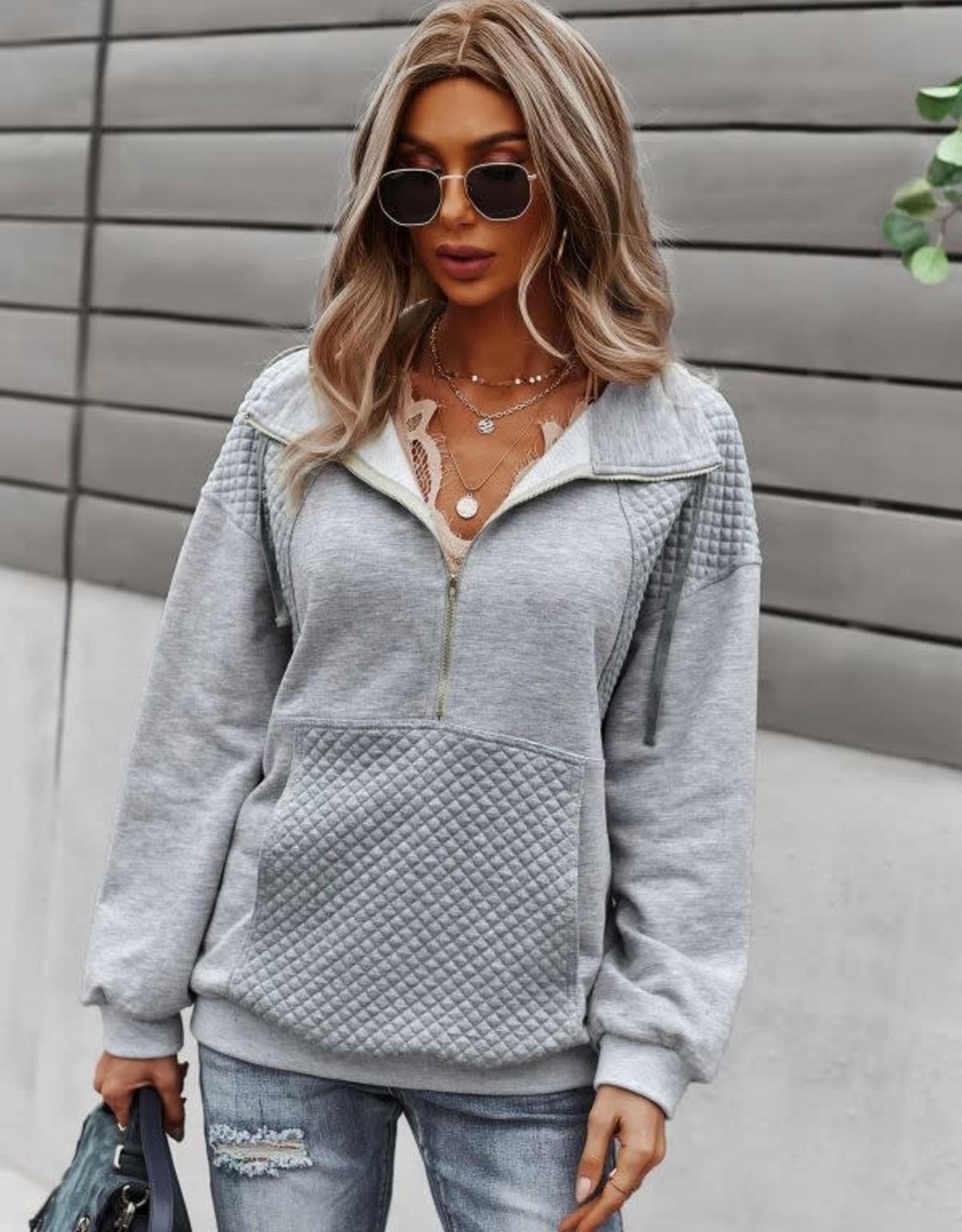 Miss Bliss Half Zip Textured Pullover- Grey