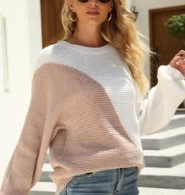 Miss Bliss Color Block Sweater- White