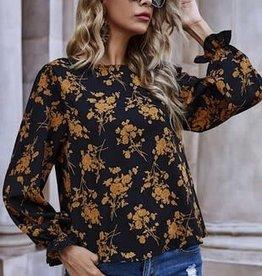 Miss Bliss LS Floral Print Blouse- Black