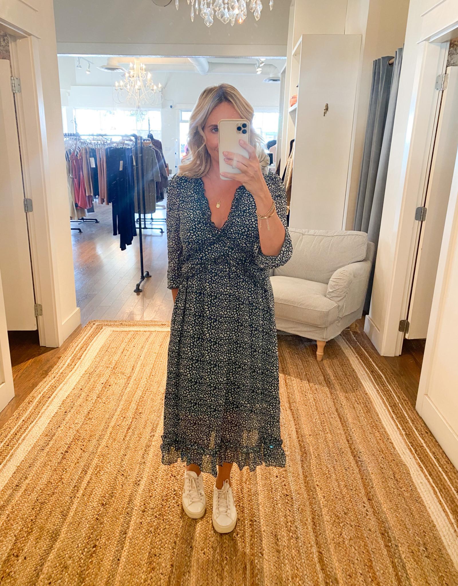 Miss Bliss LS Ruffled Dress- Green