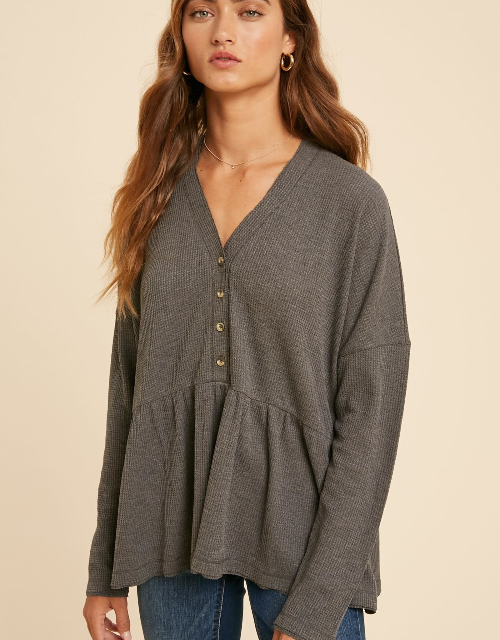 Miss Bliss Babydoll Thermal LS Button Up Top- Charcoal