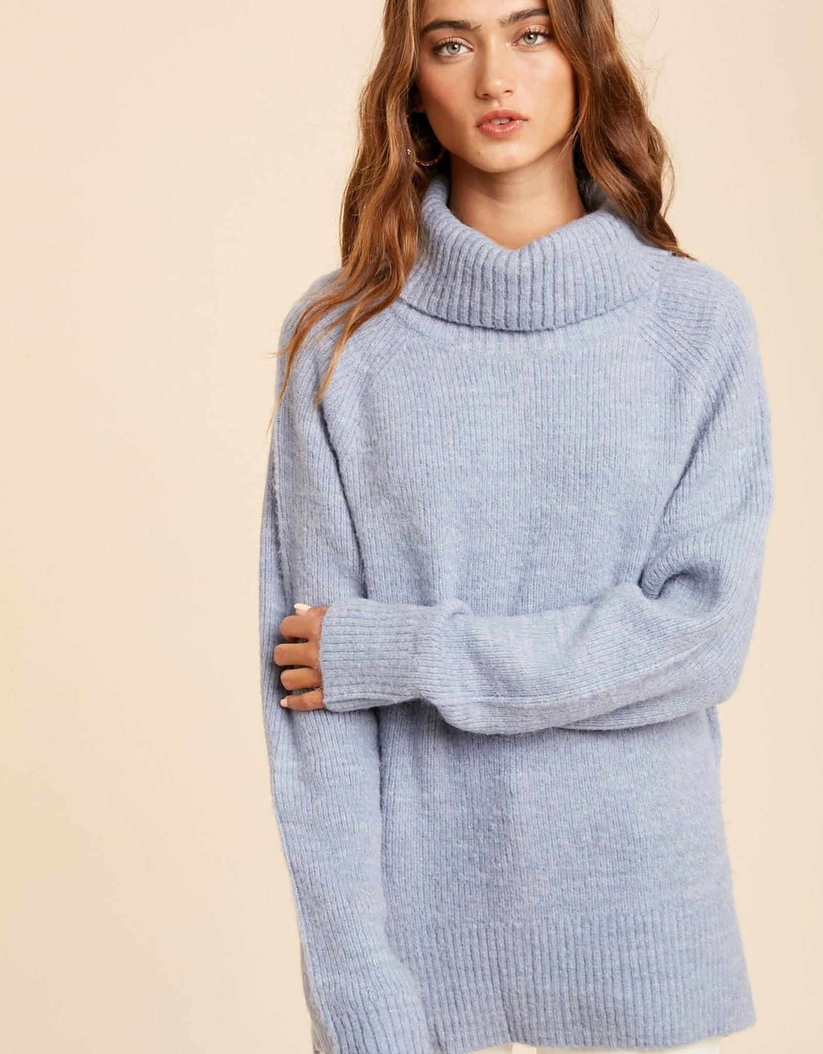 Miss Bliss Knit LS Turtleneck Sweater-