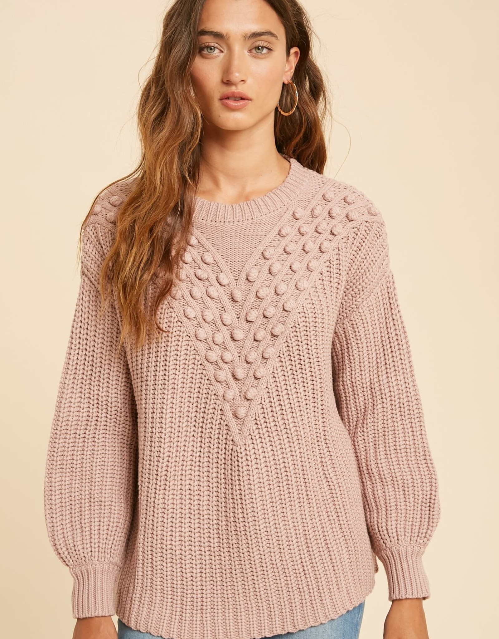 Miss Bliss Cotton Blend Pom Knitted Sweater- Mauve