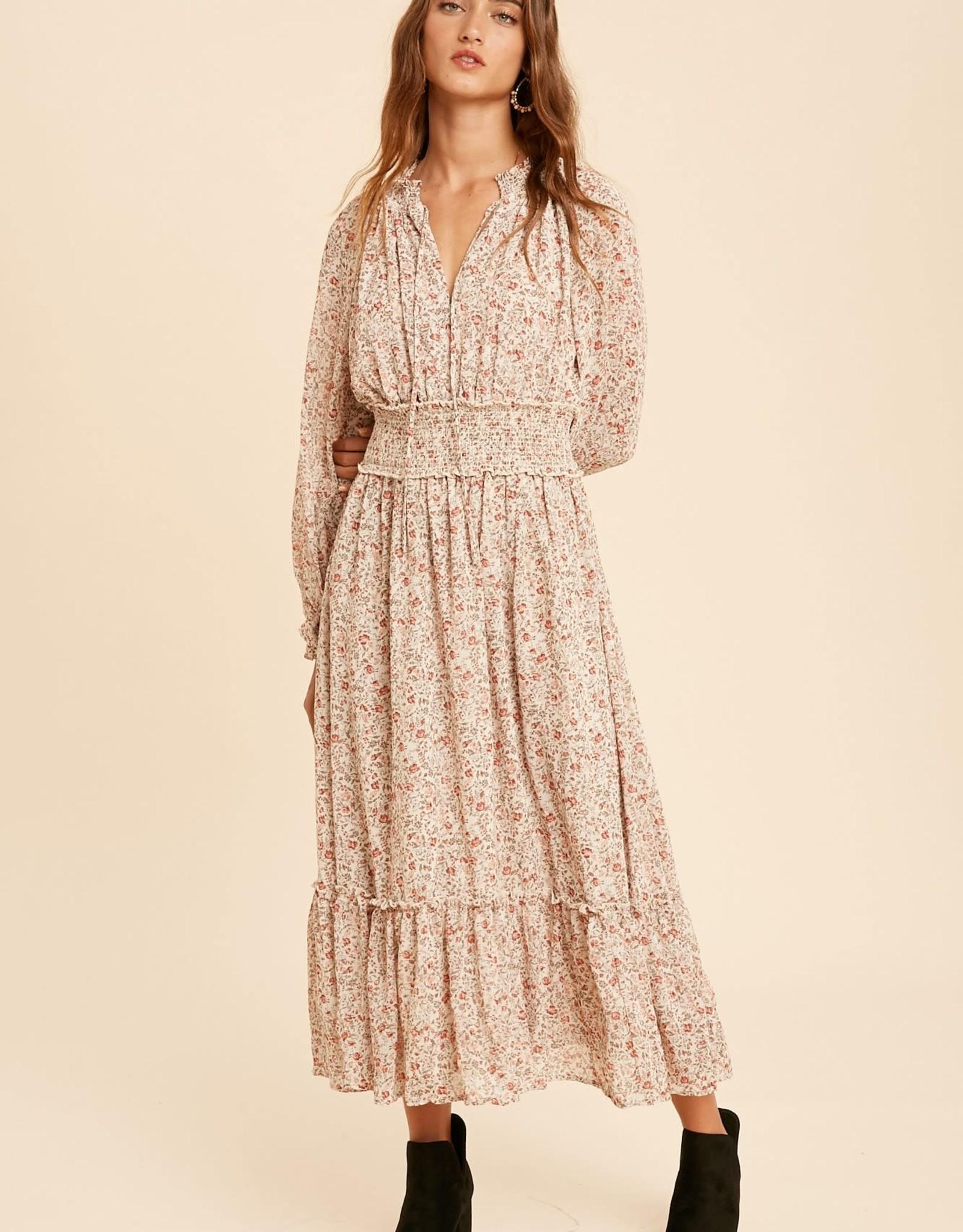 Miss Bliss LS Floral Smocked Midi Dress-