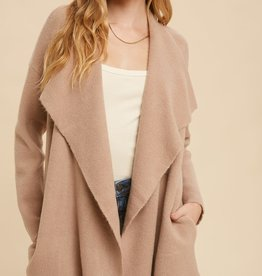 Miss Bliss Thick Wide Lapel Cardigan- Rose Taupe