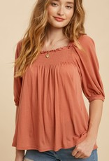 Miss Bliss Smocked Square Neck Top- Burnt Coral