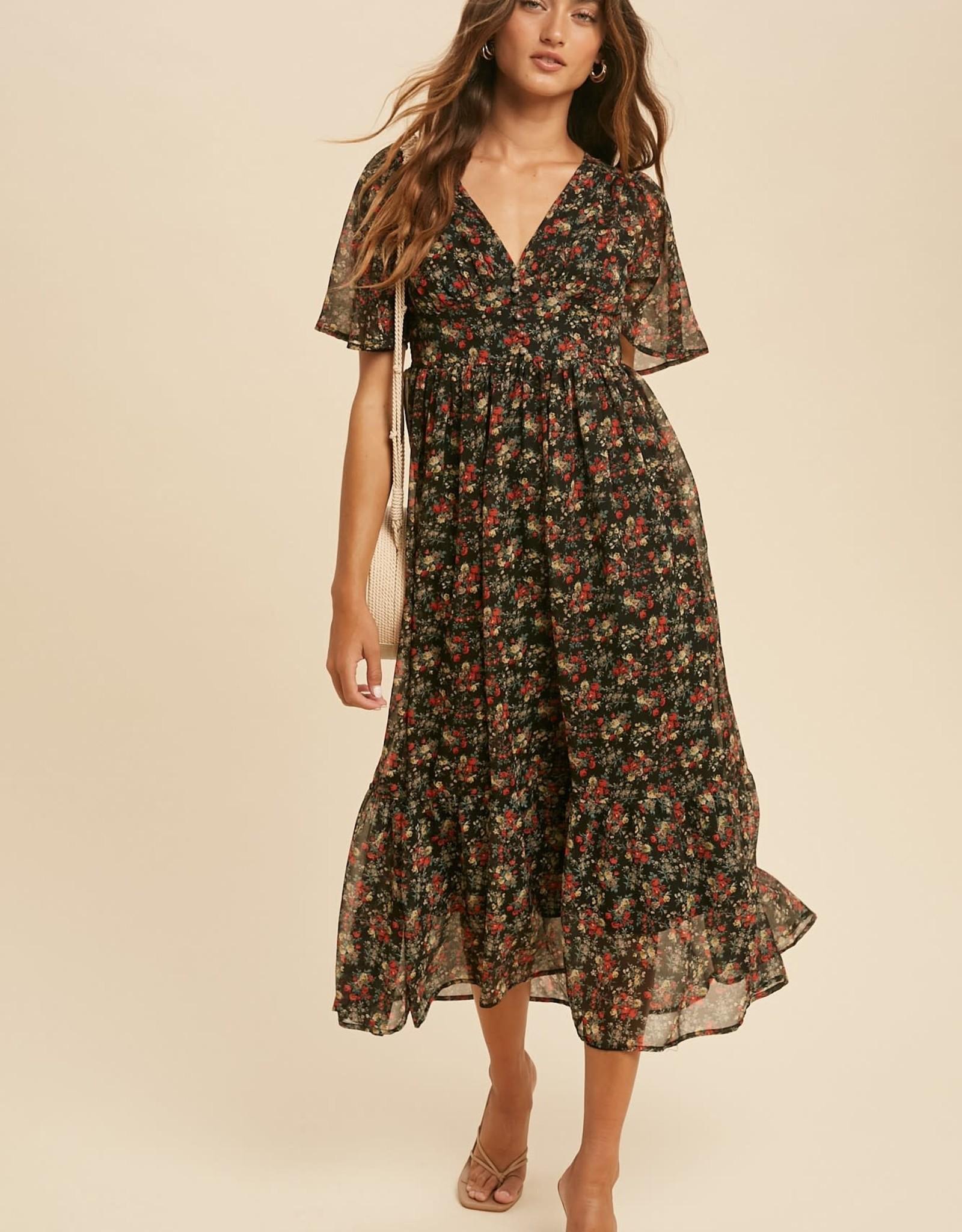 Miss Bliss V Neck Floral Flutter Sleeve Maxi Dress- Black