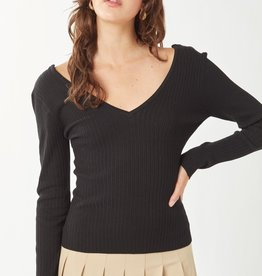 Miss Bliss LS V Neck Sweater Top- Black