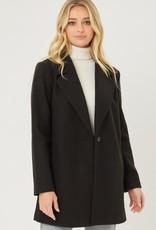 Miss Bliss Fleece Single Breasted Coat- Black