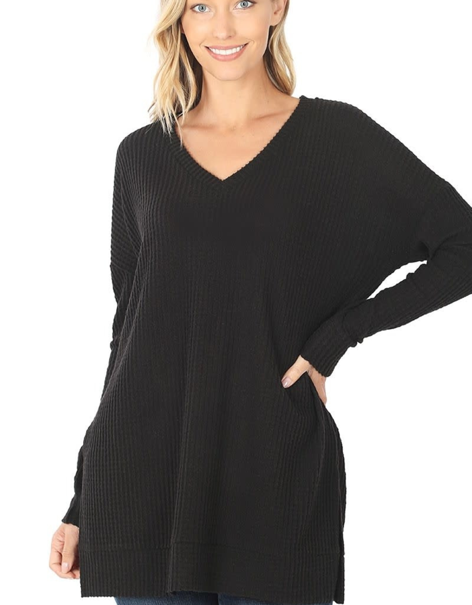 Miss Bliss Brushed Thermal Waffle V Neck Sweater- Black