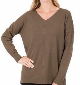 Miss Bliss Hi-Low V Neck Sweater-