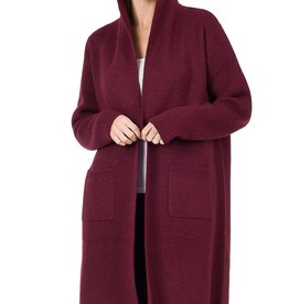 Miss Bliss Hooded Open Front Cardigan- Burgundy
