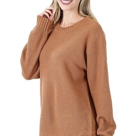 Miss Bliss Hi Low LS Round Neck Sweater- Deep Camel