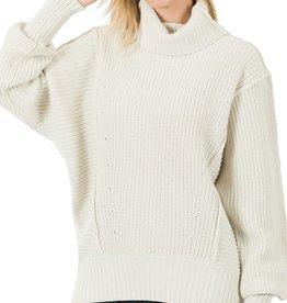 Miss Bliss Oversized Turtleneck Sweater- Bone