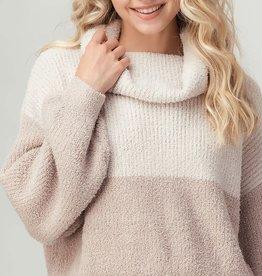 Miss Bliss Two Tone Fuzzy Knit Turtleneck Sweater- Cream