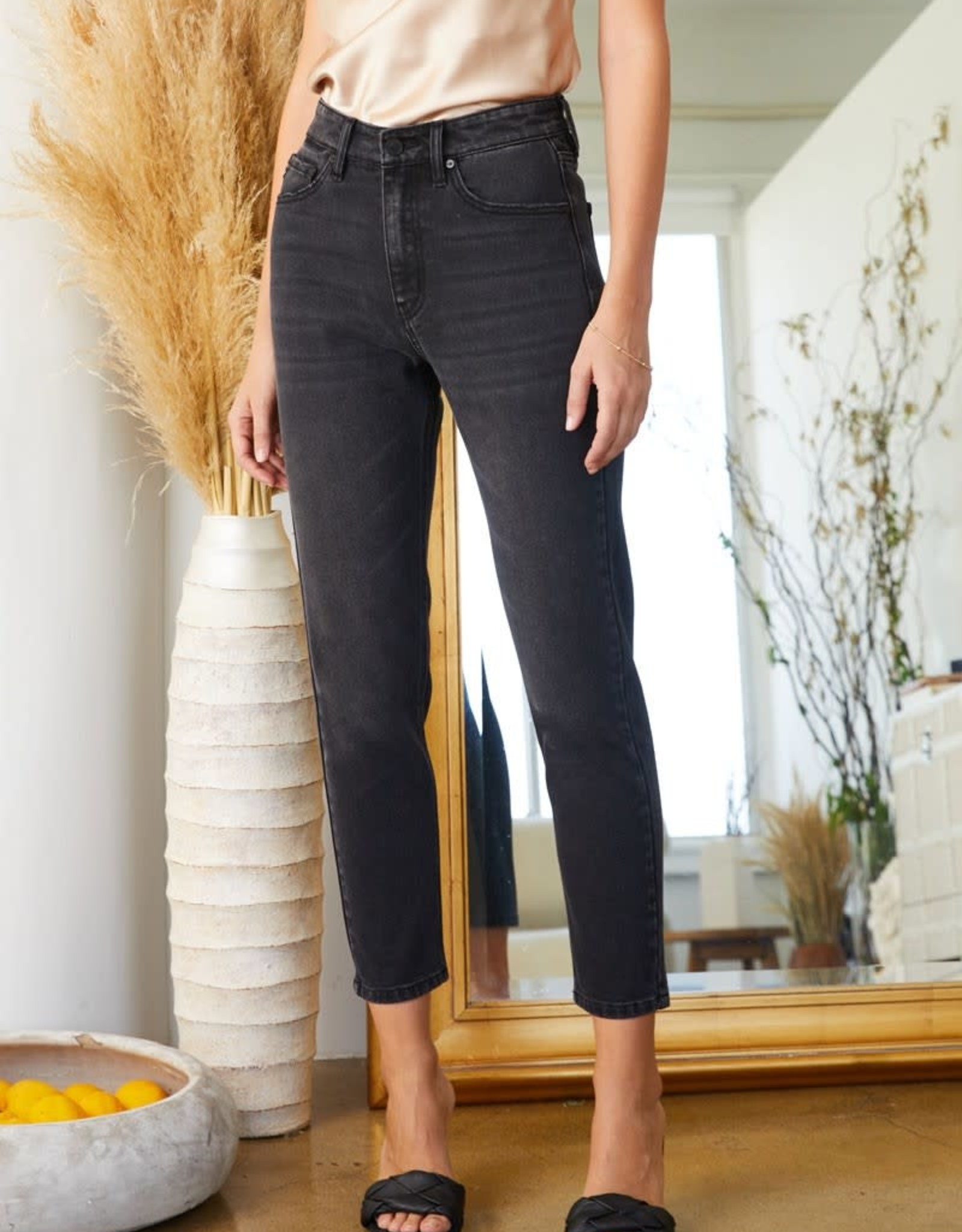 Miss Bliss High Rise Cropped Mom Jean- Washed Black