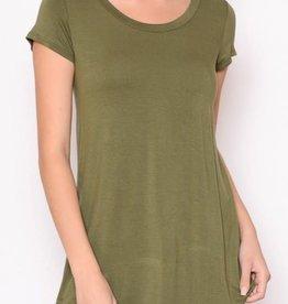 Chris & Carol Solid SS High low hem T-Shirt-