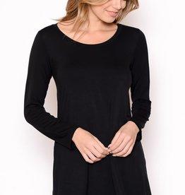 Miss Bliss Basic LS Round Neck Long Top- Black