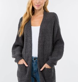 Miss Bliss Soft Knit Open Cardigan- Charcoal