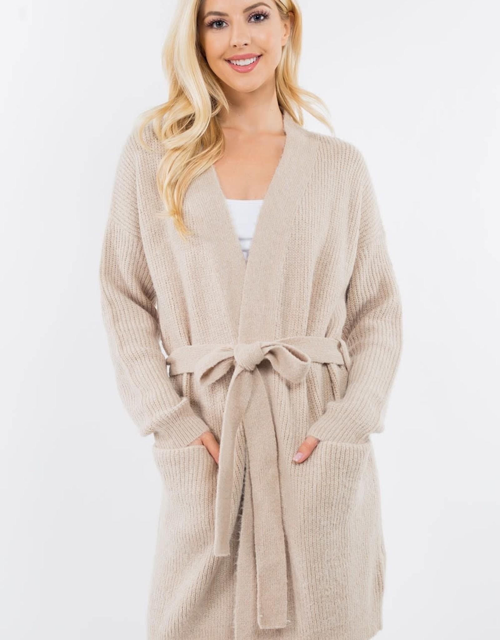 Miss Bliss Robe Front Tie Open Cardigan- Taupe