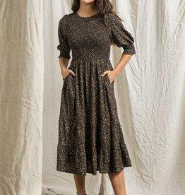 Miss Bliss Round Neck Puff Sleeve Maxi Dress- Black