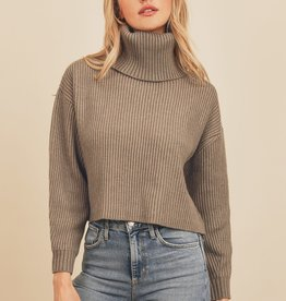 Miss Bliss Chunky Knit Turtleneck Sweater- Pewter