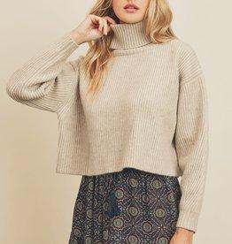 Miss Bliss Chunky Knit Turtleneck Sweater- Oatmeal
