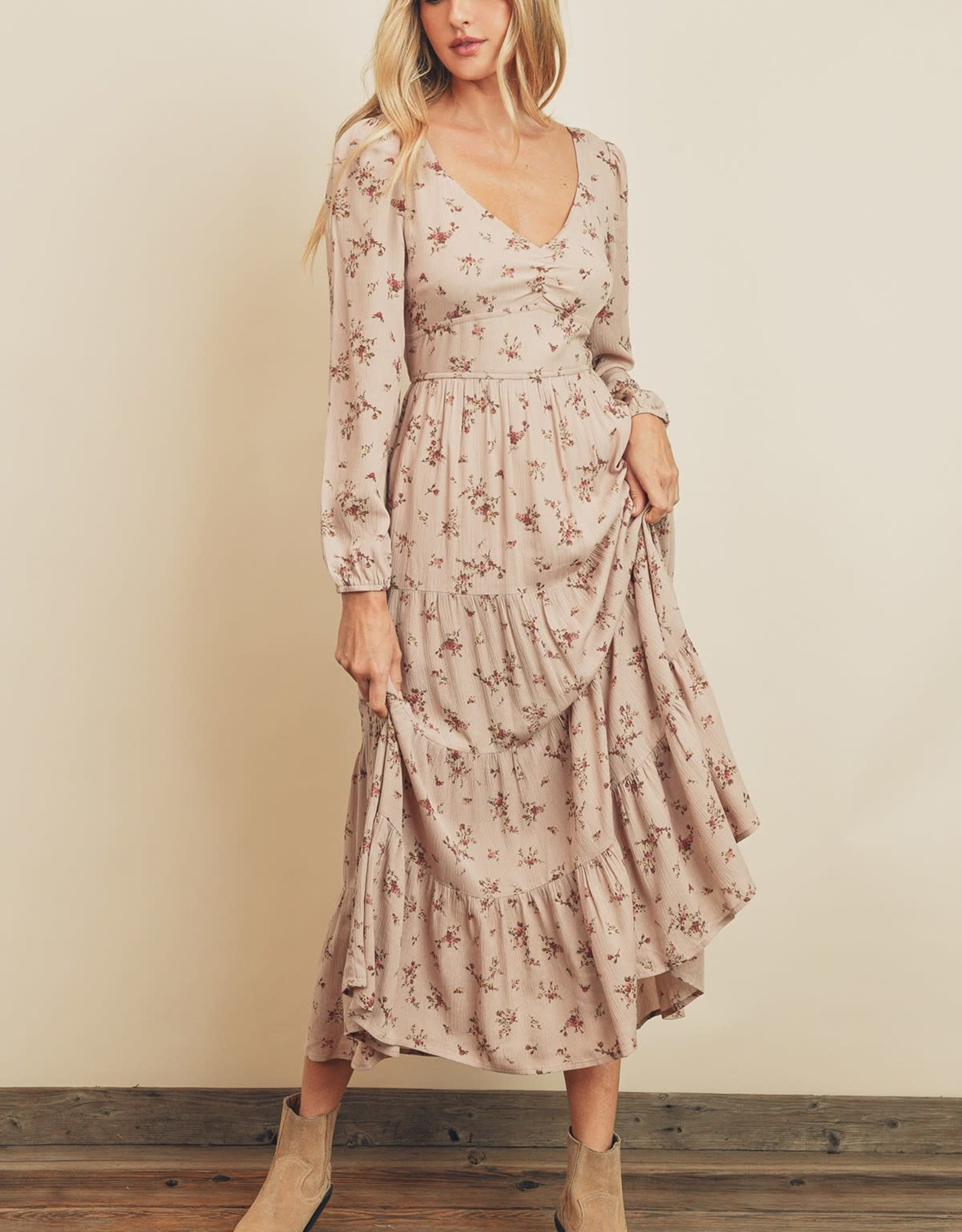 Miss Bliss Hummingbird Tiered LS Maxi Dress-