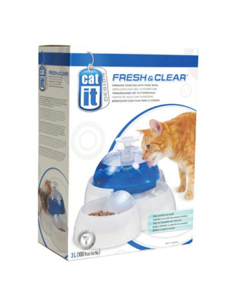 Catit Catit fresh & clear abreuvoir avec bol à nourriture 3L