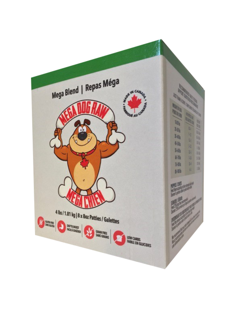 Mega dog raw Mega dog raw galettes mega repas (poulet, porc, dinde, canard, boeuf, mega) 4lb //