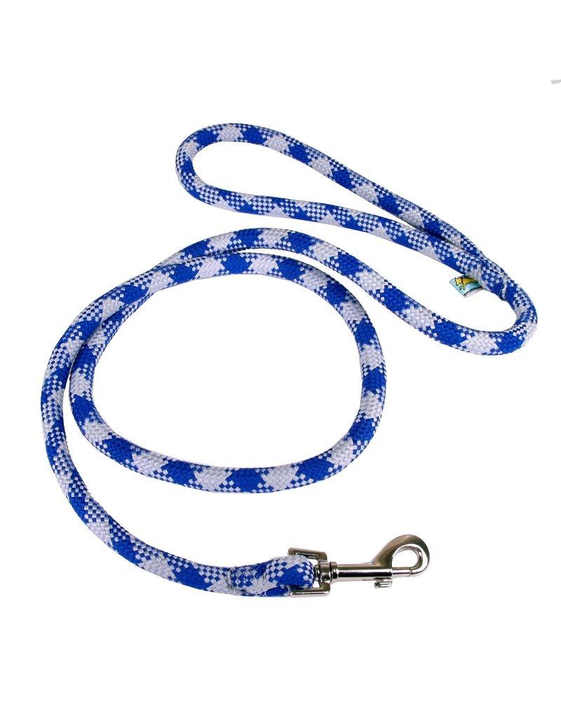 Yellowdog Yellow dog laisse tressée bleu royal blanc 3/4''x 5'