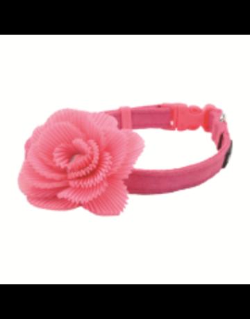 Coastal Coastal li'l pals collar ajustable  8''-12'' rose avec boucle en fleur