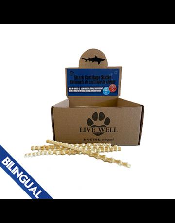 Live Well Pets Live Well Pets bâtonnets de cartilage de requin (60) *