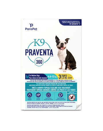 K9 K9 Praventa 360 traitement pour chiens de moyennes races, 3 tubes //