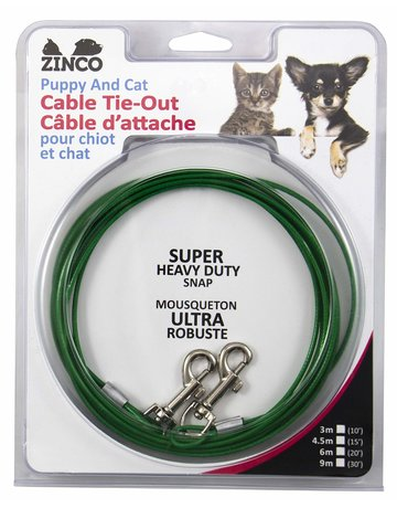 Zinco Zinco câble d'attache pour petit chien ou chat 20' ,