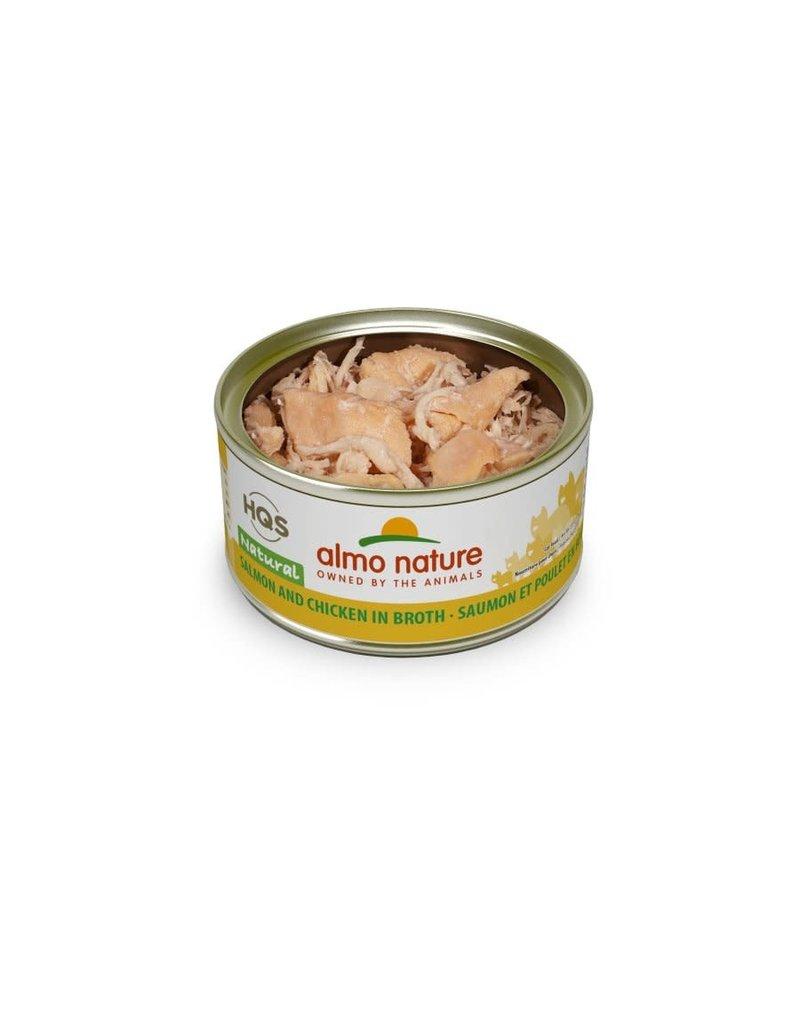 Almo nature HQS chat saumon et poulet en bouillon caisse de 24 x 70g