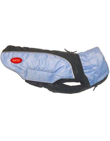 Hunter Hunter manteau chaud bleu et noir, hydrofuge avec velcro 12'',