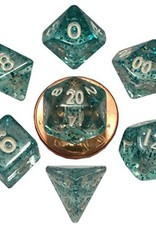 Metallic Dice Games Mini Dice 7ct. - Ethereal Light Blue/White Numbers