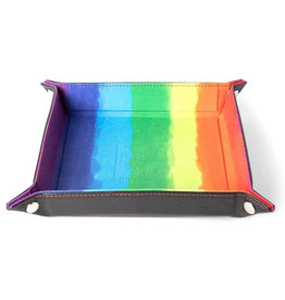 """Metallic Dice Games Velvet Folding Dice Tray With Leather Backing - 10"""" X 10"""" Watercolor Rainbow"""