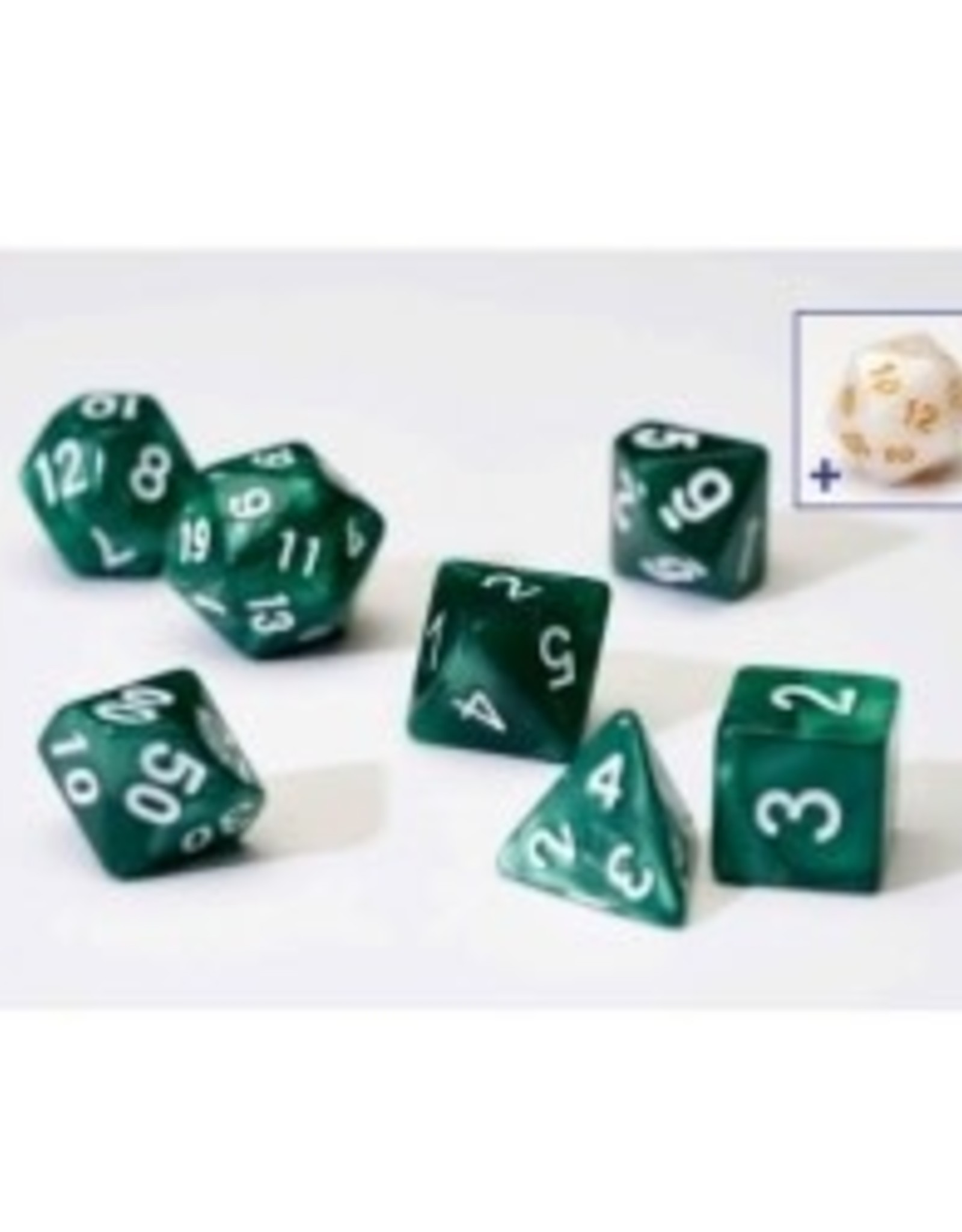Sirius Dice 7ct Opaque Poly Dice Set Pearl Green w/White