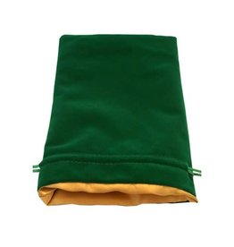 Metallic Dice Games 6in x 8in LARGE Green Velvet Dice Bag with Gold Satin Lining
