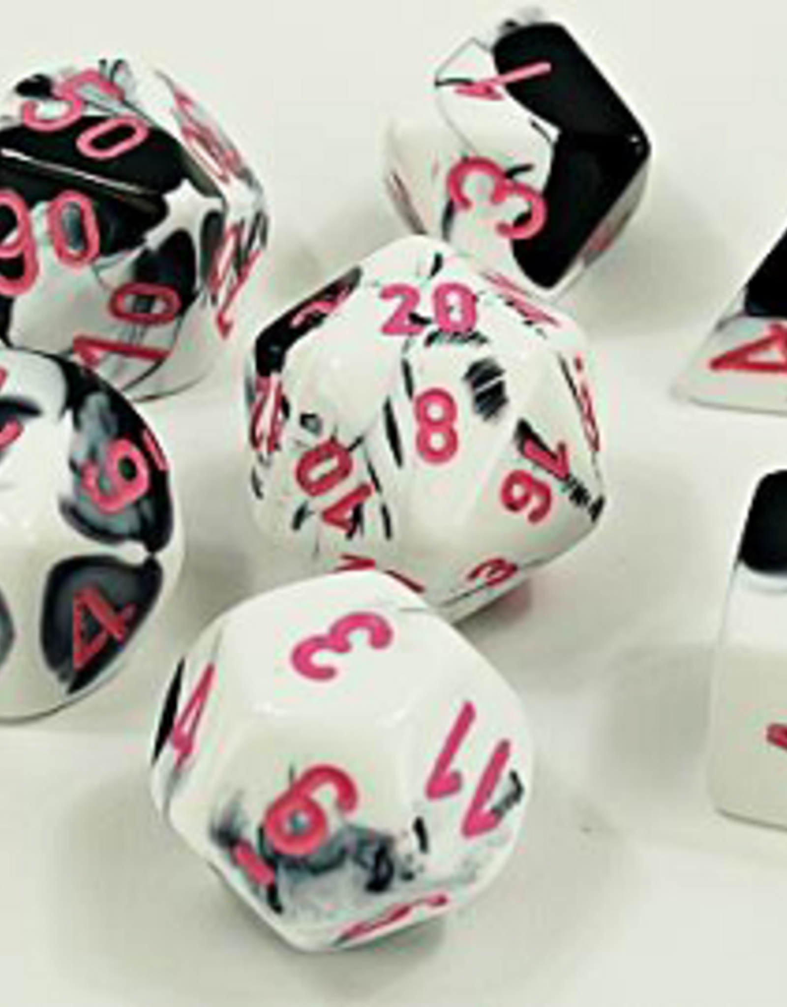 Chessex Dice Block 7ct. - Gemini  Black/White/Pink