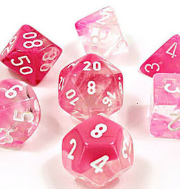 Chessex Dice Block 7ct -Trans Pink/White Glow