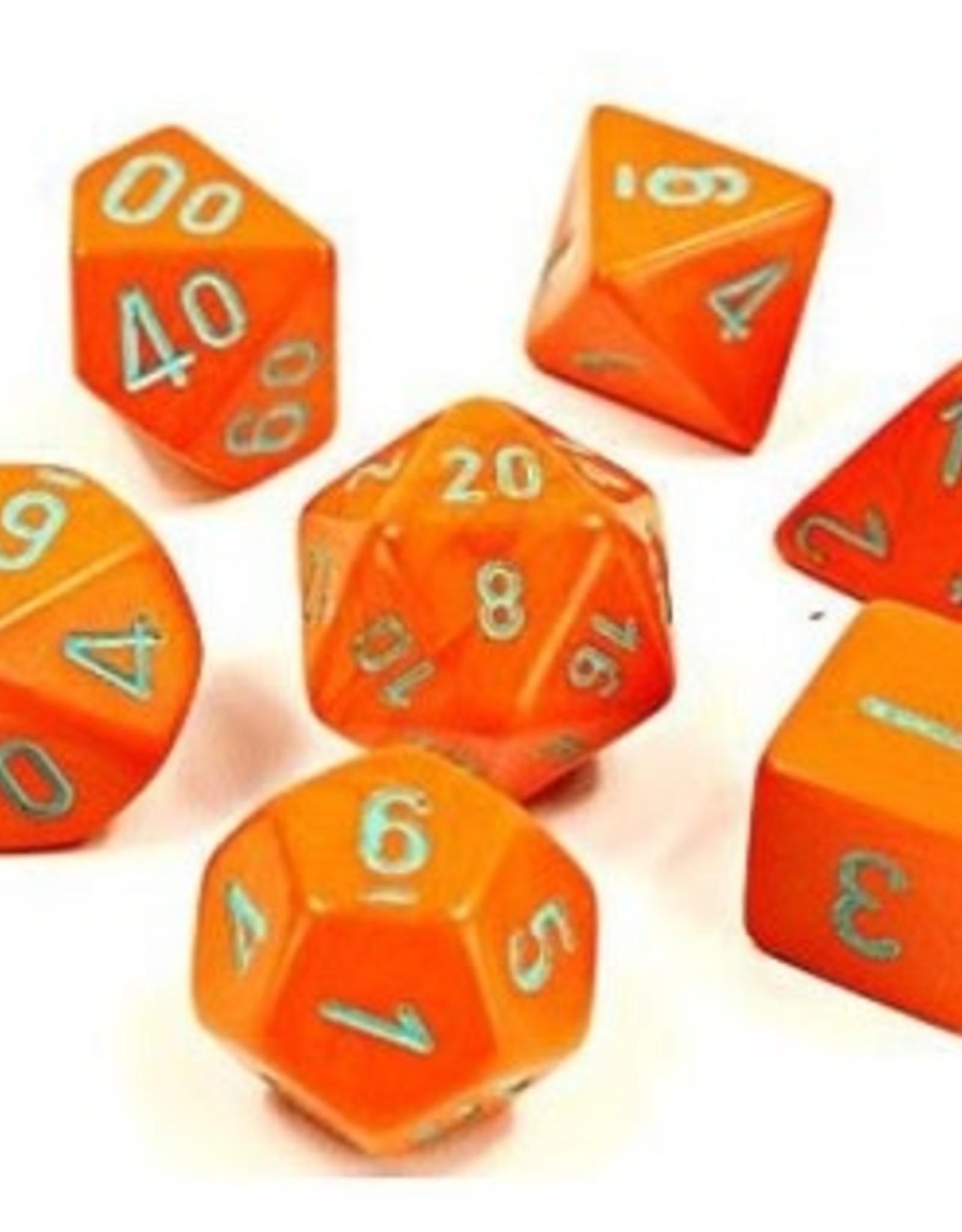 Chessex Dice Block 7ct. - Orange/turqoise